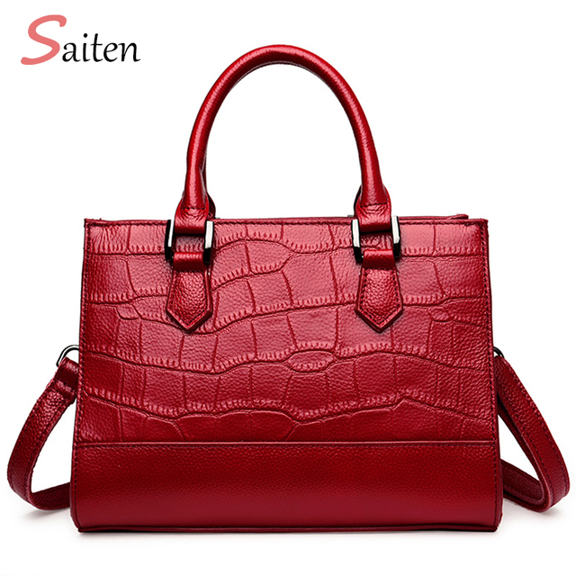 100% Genuine Leather Women Bag Ladies Women Shoulder Bags 2017 New Fashion Designer Handbags High Quality Famous Brands Tote Bag