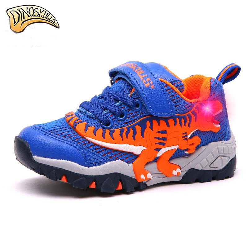 Dinoskulls 2018 boys genuine leather shoes children luminous Sneakers eye flashing Leisure Casual Breathable Kids Running Shoes 2016 new shoes for children breathable children boy shoes casual running kids sneakers mesh boys sport shoes kids sneakers