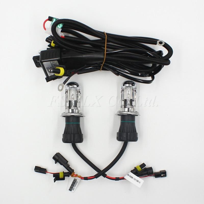 Auto Car H4 Xenon HID Bulbs Headlights with h4 H/L Bi xenon relay harness Car Lamp H4-3 35W 4300K 6000K 8000K Low high beam