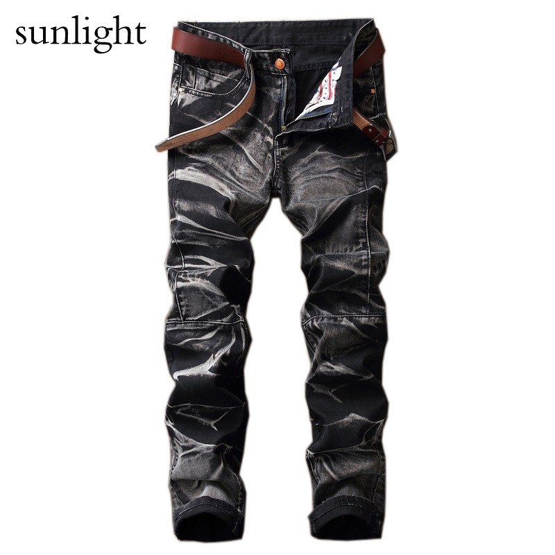 Jeans Dark Color Frayed Hole Destroyed Rippe Jeans Men Casual Pants Denim Slim Fit Biker Jeans Hiphop Jeans SIZE 2017 new hiphop men hole jogger pants high quality casual destroyed skinny ruched jeans hole casual pants jogger rock jeans