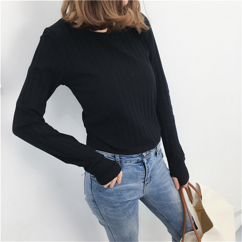 d6063155ca Basic Cotton Ribbed Tops Tees With Thumb Hole Women Long Sleeve Tee Shirts  Essential Layering T Shirt Femme