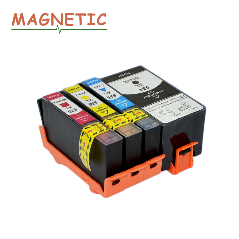4pcs Magnetic Compatible Ink Cartridges For HP934 HP935 For HP 934 935 XL Officejet pro 6230 6830 6835 6812 6815 6820 printer