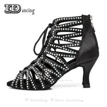 Dance Jazz Shoes Ballroom Rhinestone Latin Diamond Sneakers Comfortable Hot Sale JuseDanc