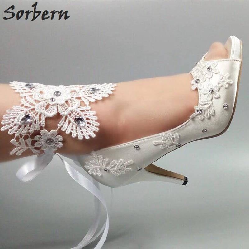Sorbern Elegant White Silk Lace Wedding Shoes Crystal Ankle Lace Straps Peep Toe Shoes Women 2018