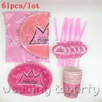 Kids Favors Cups Paper Plates Baby Shower Gifts Bags Birthday Party Pink Crown Decoration Pj Masks