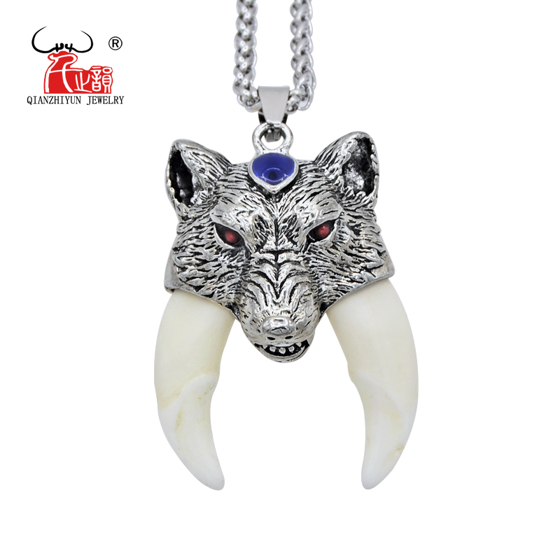 Men's Stainless Steel Necklace Tibetan Amulet Fangs Real Natural Tooth Vintage Silver Wolf Tooth Charm Bone Pendant Necklace vintage ivory decorated carving stainless steel pendant necklace
