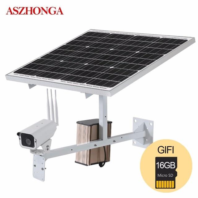 Panel de energía Solar de 30W cámara IP de vigilancia CCTV para exteriores, seguridad de 1080P, Onvif, Wi fi inalámbrico, 3G4G, SIM, tarjeta SD de 16GB gratis