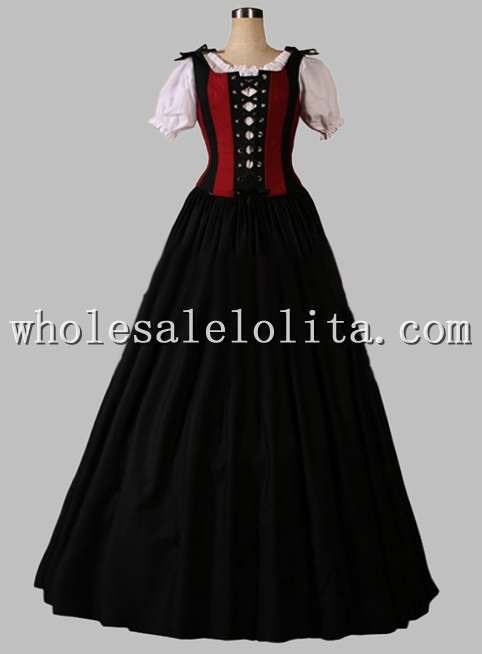 19th Century Black and Red Victorian Era Dress Blouse Included