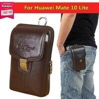 Couro genuíno Double-deck Clip Bolsa de Cintura Bolsa Case Capa para Huawei Companheiro 10 Lite 5.9