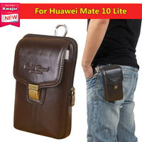 Genuine Leather Double Deck Pouch Clip Waist Purse Case Cover For Huawei Mate 10 Lite 5