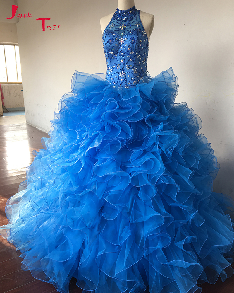 Jark Tozr High Neck Sparkly Beading Royal Blue Pretty Ball Gown Quinceanera Sweet 16 Dresses 2017 with Shawl Vestidos De 15 Ano