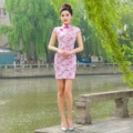 Fashion Pink Woman Cheongsam  Summer Slim Qipao  Elegant Short Printed Party Women Clothing
