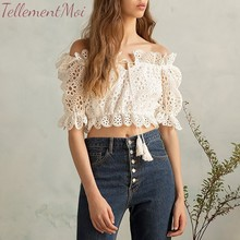 Sexy Off The Shoulder Crop Top Women Hollow Out Solid Short Shirts Half Sleeve Cropped Lace Feminino Tank Top 2019 New Fashion contrast lace open the shoulder top