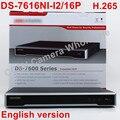Free shiping DS-7616NI-I2/16 P versão Inglês 16CH NVR com 2 portas sata 16POE 12MP, incorporado Plug & Play NVR H.265