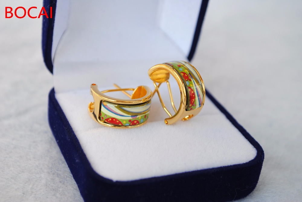 Cloisonne hand-painted enamel color European-style ear buckle 3 cloisonne jewelry enamel round ring european and american style