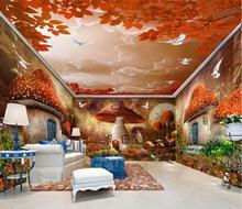 Пользовательские обои фрески супер красивая фея фантазии гриб дом лес, полный пользовательский фон стены