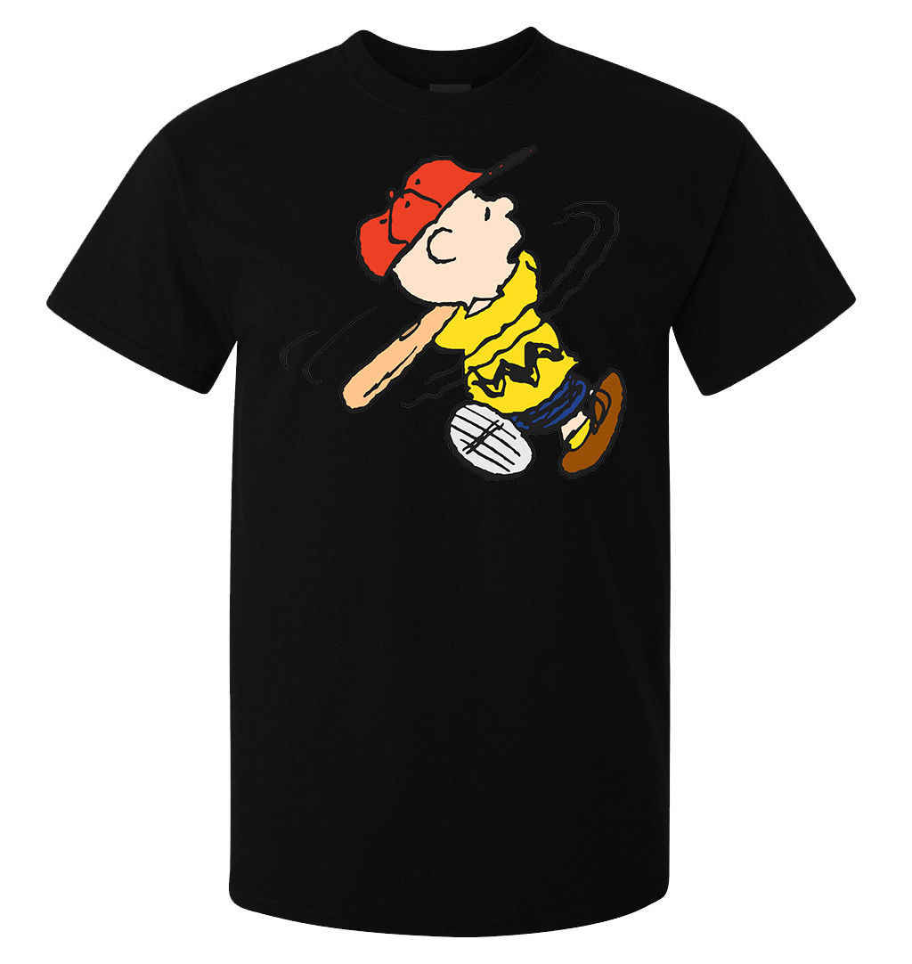 Peanuts Charlie Playing Baseball men's (woman's available) t shirt black Cartoon t shirt men Unisex New Fashion tshirt Loose