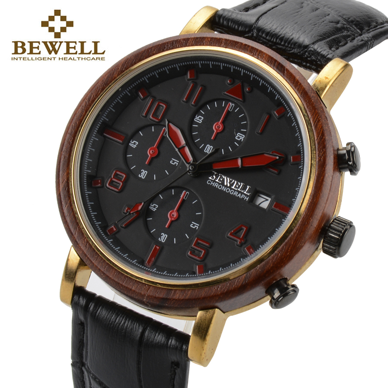 BEWELL New Waterproof Alloy Wood Men Watches With Luminous Hands And Stopwatch Top Luxury Brand Clock With Leather Band 1061A 1