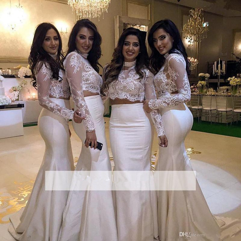 Two Pieces 2019 Cheap Bridesmaid Dresses Under 50 Mermaid High Collar Long Sleeves Lace Long Wedding Party Dresses For Women