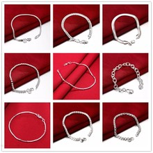 Men's Bracelet Silver 925 Jewelry 20cm Slim Thin Snake/Beads/Box/ twist Rope Chains bracelet bangle Pulseira de Prata 9 Styles(China)