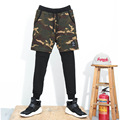 Large Size fall Winter New Men Workout Pants Loose fake Two Camouflage Sweatpants Jogger Pants Splicing Mens Pants & Trousers