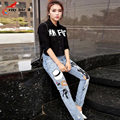 2016 New Harem Pants Casual Personality Portrait Printed Fashion Jeans Appliques Ripped Denim Pants Women Mid Waist Plus Size
