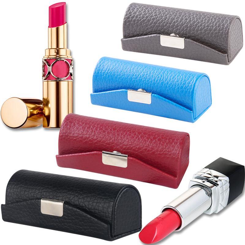 Portable Lipstick Box Bag Environmental Protection Leather Portable Lipstick Box With Mirror Cosmetic Bag