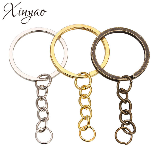 XINYAO 20 pcs/lot Key Ring Key Chain Rhodium Gold Bronze Color 60mm Long Round Split Keychain Keyrings Jewelry Making Wholesale