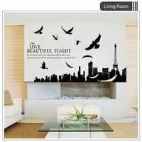 City Silhouette Of Paris DIY Wall Sticker For Living Room Bedroom Simple Black Wall Decals Home
