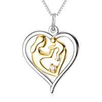 925 Sterling Silver Mother S Love Jewelry 18k Gold Plated Mom Hold Baby Family Heart Pendant