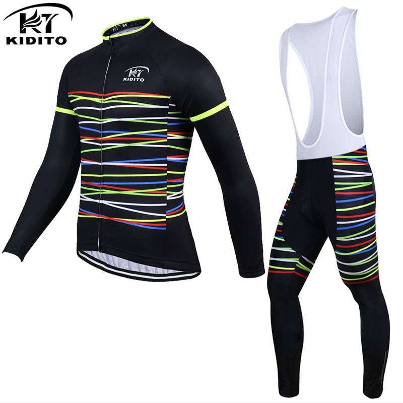 KIDITOKT 100% Polyester Men's Spirng Cycling Jersey Long Sleeve Ropa Ciclismo Bicycle  Clothing Quick Dry Bike Clothes Sets 2017 breathable quick dry bike ropa ciclismo skintight short sleeve cycling jersey clothes gel pad bicycle cycling clothing