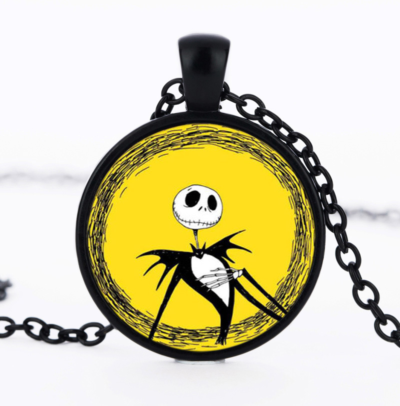 Cute Jack Skellington Picture Glass Cabochon Necklaces Gifts For Children The Nightmare Before Christmas Anime Choker Necklaces
