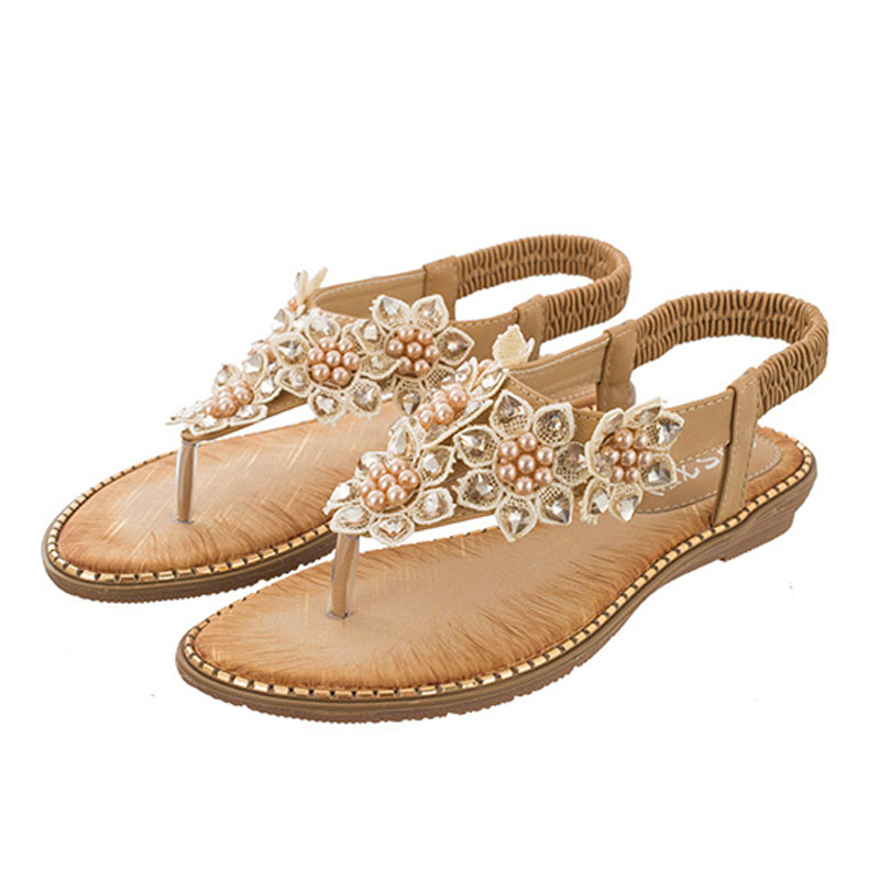 Gladiator Sandals Flower Wedges Beach-Shoes Crystal Comfort American-Style Summer Women