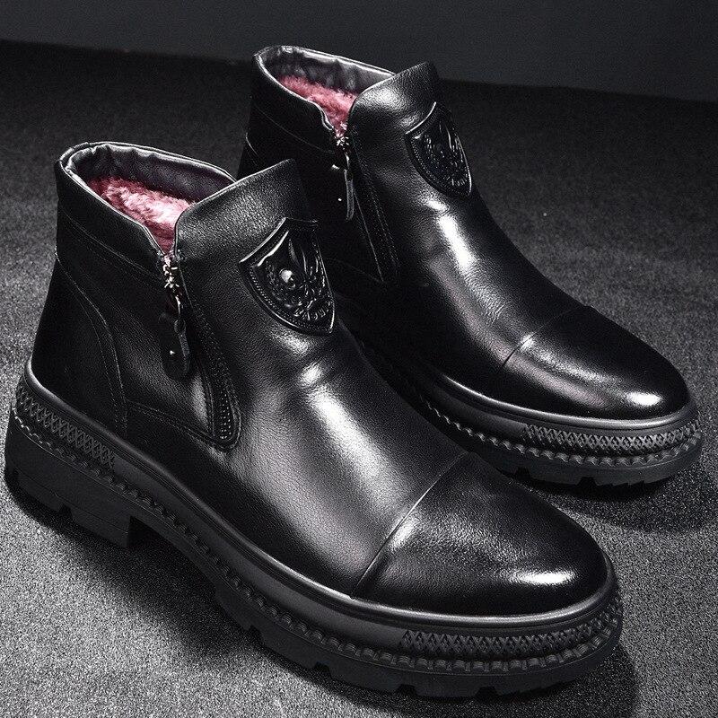 Botas de couro genuíno botas de inverno botas de inverno botas de neve botas de neve