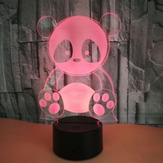 Panda Baru Warna-warni 3D Lampu Warna-warni Kecil Malam Lampu Kamar Anak-anak Natal Dekorasi Hadiah 3D Lampu