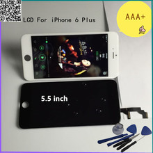Top quality AAA+ 5.5 inch For iPhone 6 Plus LCD Display Touch Screen Digitizer Assembly Replacement Black White color With tools
