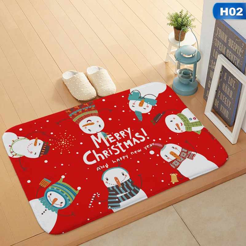 Christmas Floor Mat Cartoon Cute Snowman Flannel Doormat