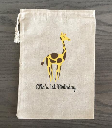 Custom Giraffe Safari Animals Wedding Birthday Jewelry Favor Muslin Gifts Bags Bachelorette Baby Shower First Aid Hangover Kits