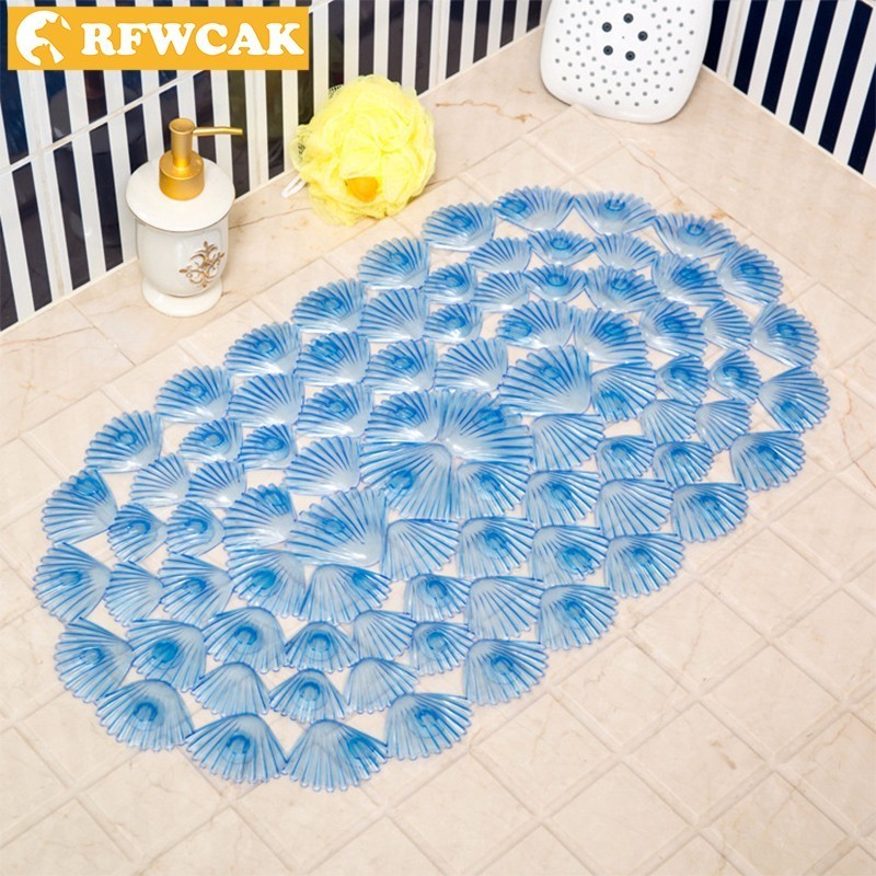 RFWCAK PVC Shell Non-slip bathroom Carpet Children Cartoon Bath Mat Safety Tub Shower Suction Cup Massage Mat Bathroom Products