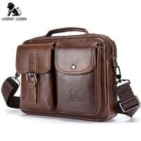 LAOSHIZI LUOSEN Genuine Leather Men Shoulder Bag Handbag Vintage Cowhide Crossbody Bag Tote Business Casual Men