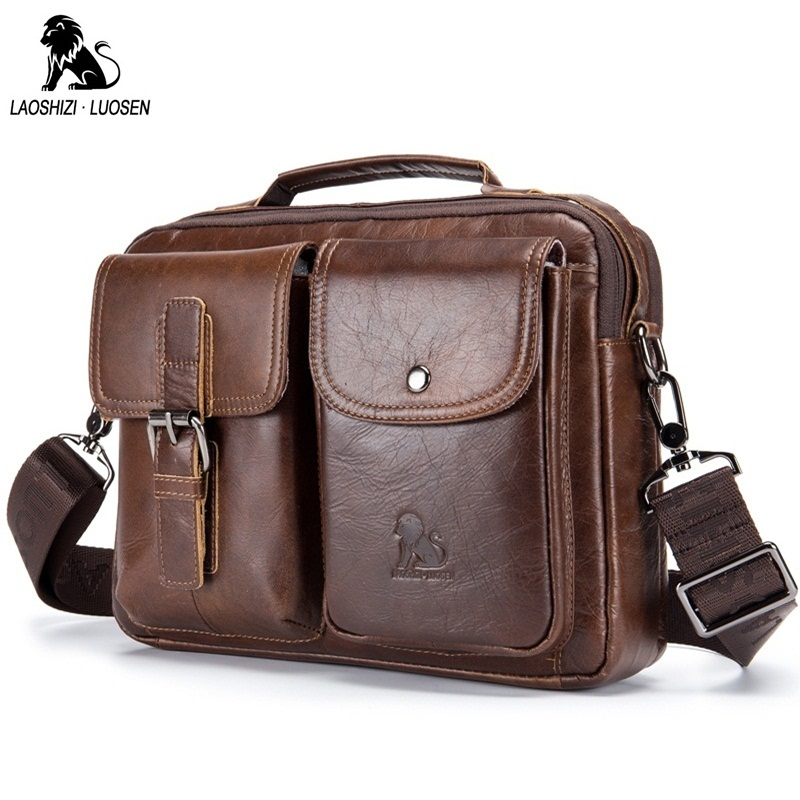 цены LAOSHIZI LUOSEN Genuine Leather Men Shoulder Bag Handbag Vintage Cowhide Crossbody Bag Tote Business Casual Men Messenger Bag