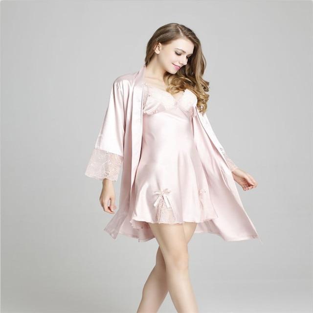 2eca1e92b6 Wholesale Sexy women satin Robe Sets nightwear silk lace Three Quarter  sleeve sleepwear (bathrobe +