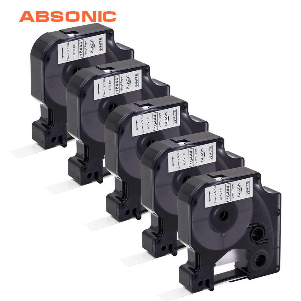 Absonic 5 шт. DYMO Rhino 18444 IND виниловая этикетка лента черный на белом 12 мм промышленный