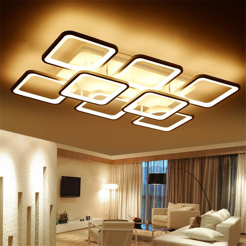 Square Led Ceiling Lights  Modern Acrylic Plafon Ceiling Lamp with Remote Control For Living Room Bedroom Lamparas de techo 120cm 100cm modern ceiling lights led lights for home lighting lustre lamparas de techo plafon lamp ac85 260v lampadari luz