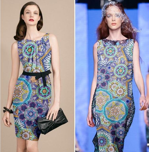 wholesale Geometric patterns Silk fabric dresses, print satin floral ...