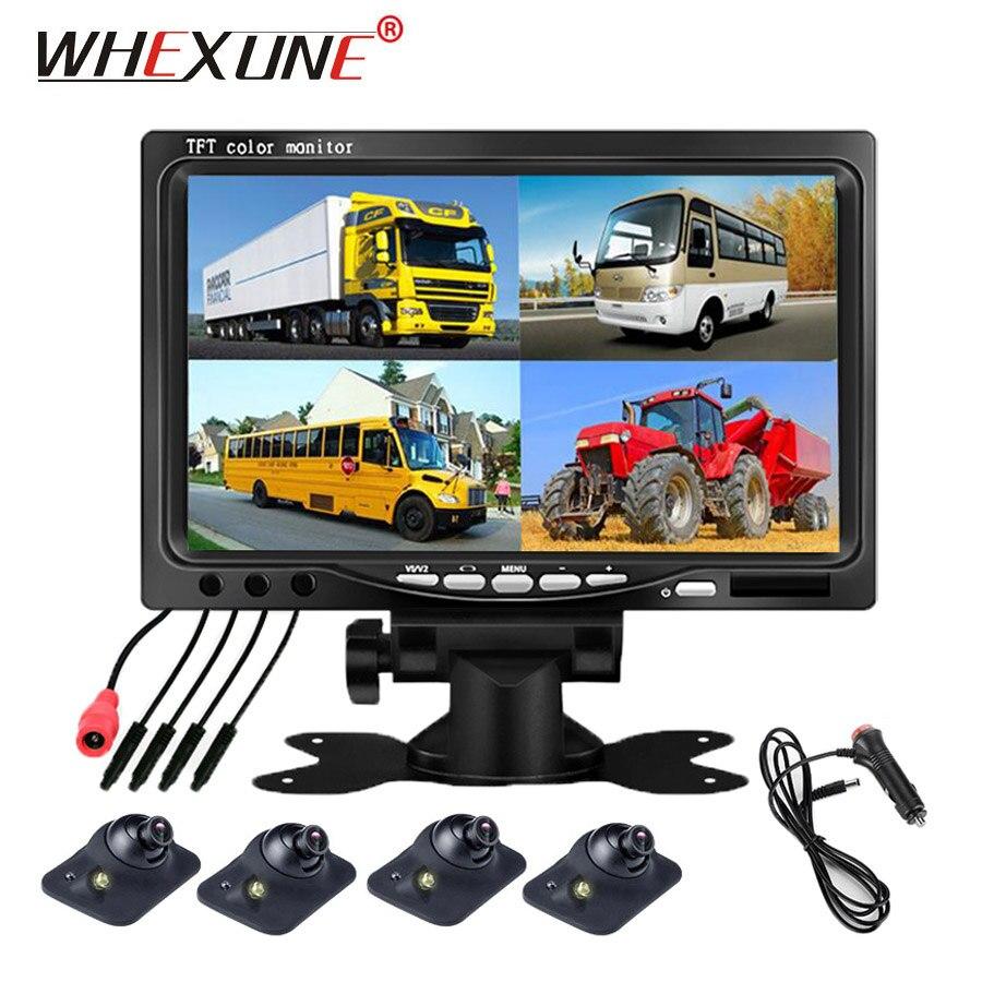 WHEXUNE Super HD DC12V 7 pouces 4 Split Quad LCD écran écran couleur vue arrière voiture moniteur avec voiture camion Bus caméra de recul