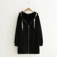 XL To XXXL Fleece Print Letter Black Hoodies Women Long Sweatshirt Elastic Plus Size Cotton Full
