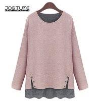 Amoyblue Pink Fashion T Shirts 2017 Spring Autumn Womens Loose T Shirts Long Sleeve O Neck