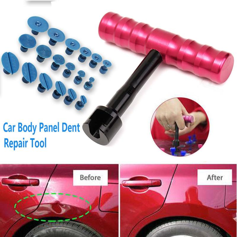 Car Body Dent Repair Puller Paintless Removal T-Hanle Bar Tool with 18 Tabs Metal Plastic  Paint Dent Repair Tool Set tool
