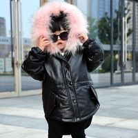 Plus size new girls leather coats,Lovely children genuine leather raccoon fur collar jcoats children down coat fur jacket AL1625